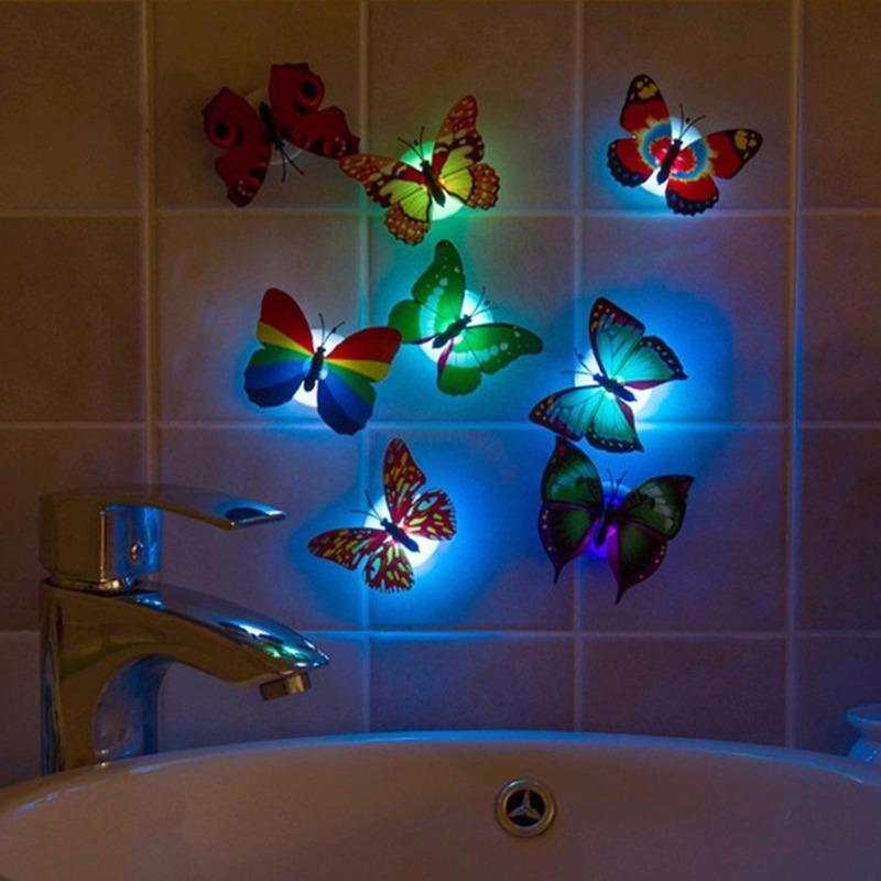 도매 다채로운 빛나는 인공 나비 밤 빛 홈 파티 웨딩 장식 조명 램프 벽 스티커 아이 선물