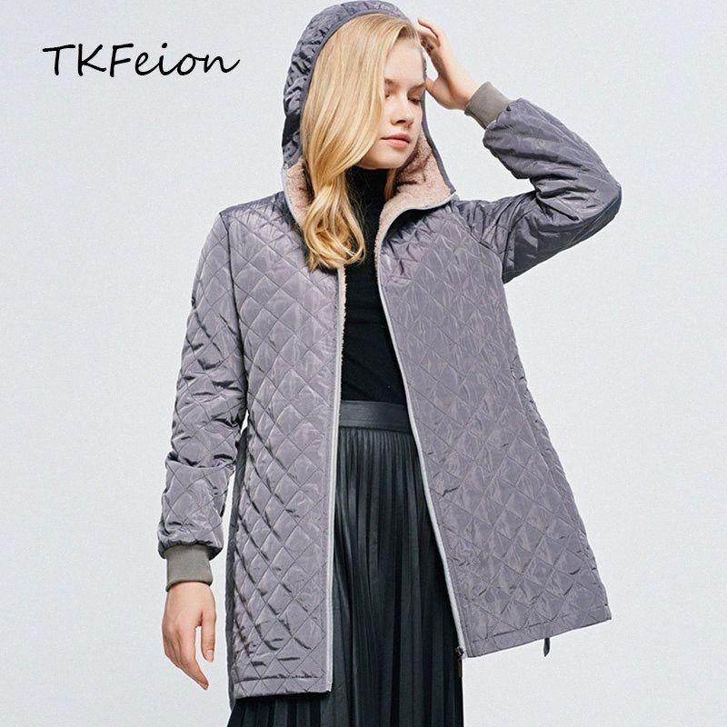 Larga para mujer abrigos de moda gris, azul marino, negro, café 2020 New llegaron Otoño Invierno Mujer de algodón acolchado Chaquetas Parkas estilo delgado 3irT #
