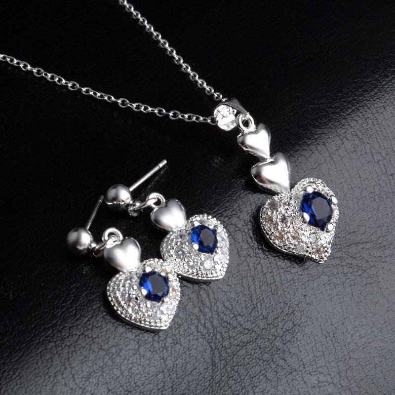 Women Heart Zircon Jewelry Sets 925 Sterling Silver Plated Fashion Blue Crystal Diamond Stud Earrings Necklace with Link Chain Wedding Gifts