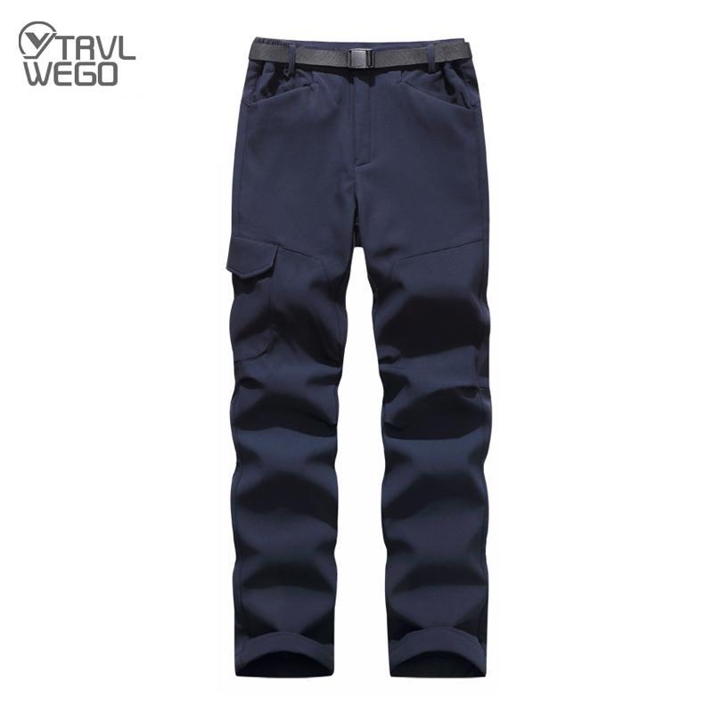Calças ao ar livre trvlwego homens inverno engrossar esportes calça com lã à prova de vento quente calças calças macho aventura de acampamento de aventura