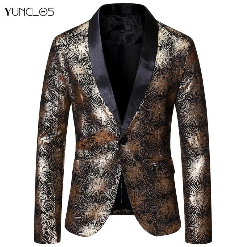 YUNCLOS Mens Fashion Casual Blazer uomini dimagriscono Giacca One Button Abito Blazers smoking Plus Size Outwear Tendenze