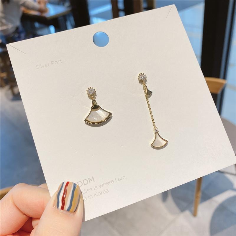 dGTeY coreano caldo-vendita guscio coreano stile 925 ago d'argento asimmetrico a ventaglio in stile socialite zircone Shell e orecchini