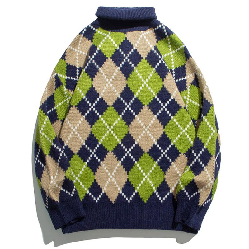 Mens Vintage Turtelneck Maglioni Streetwear HipHop autunno casual Uomo Maglieria Harajuku Oversize allentato Plaid Piazza griglia Pullover