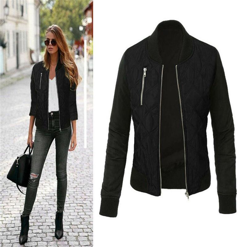 Automne Hiver chaud Streetwear femmes Retro Slim dames 100% coton manteau de veste zipper Biker Casual Hauts-de 3XL Roupas Femininas