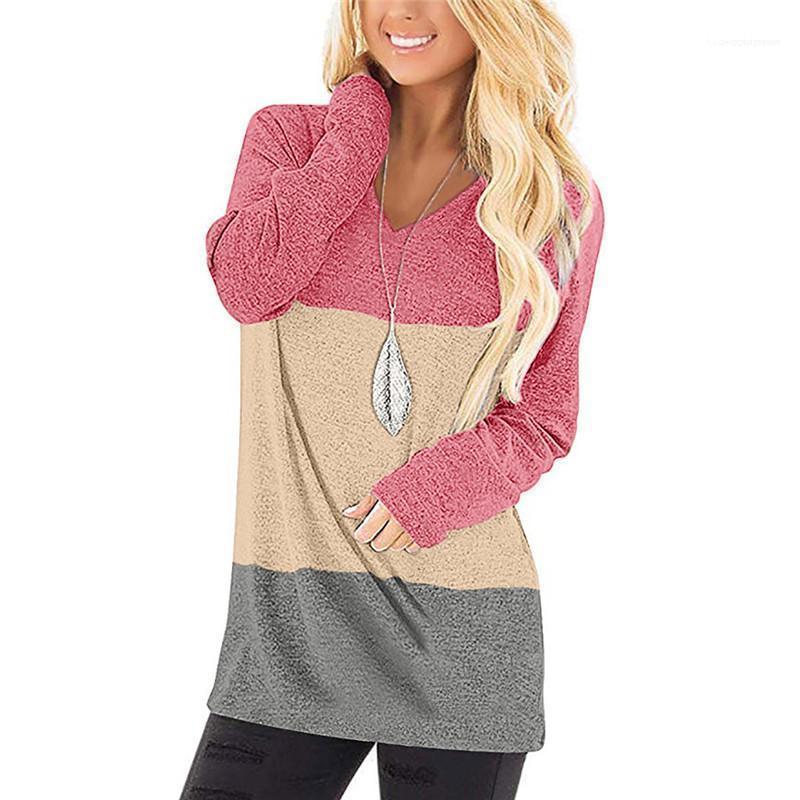 Kol Giyim Kadın Tasarımcı V Yaka T-shirt Bahar Kasetli Uzun Tees Moda Kontrast Renk Giysiler Casual Uzun