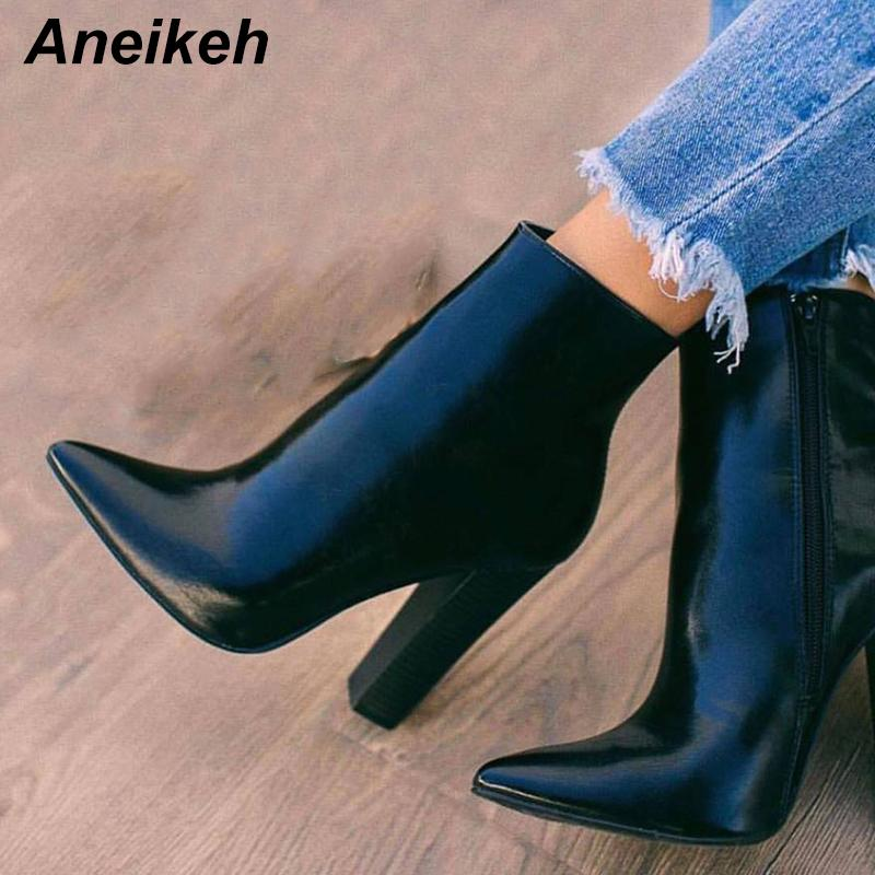 Aneikeh New Concisa 2020 PU Mujeres Botas Plaza de la cremallera de tacón alto sólidos zapatos de punta punta tamaño Dance Party Botines Negro 35-42