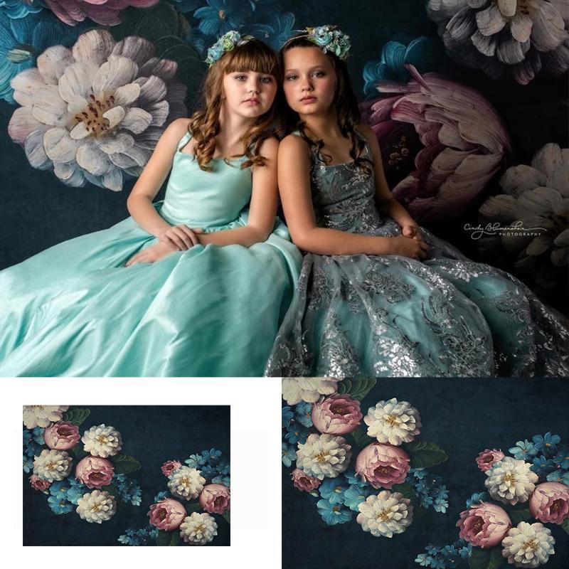 Старый Мастер Themed Дети Портрет Фон для Photo Studio Vintage Flowers синего фона художественных фотографии и сад реквизита