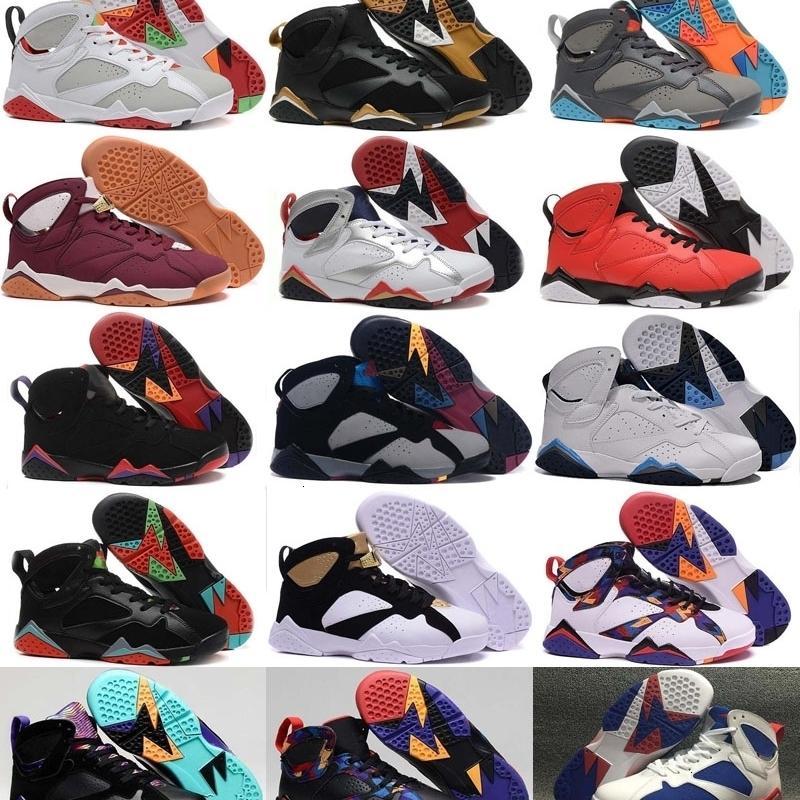 Zapatos 7 7s VII hombres retro de plata olímpica de baloncesto Burdeos Panton puro dinero Nada Raptor Homme Sport formadores de zapatos zapatilla de deporte barato