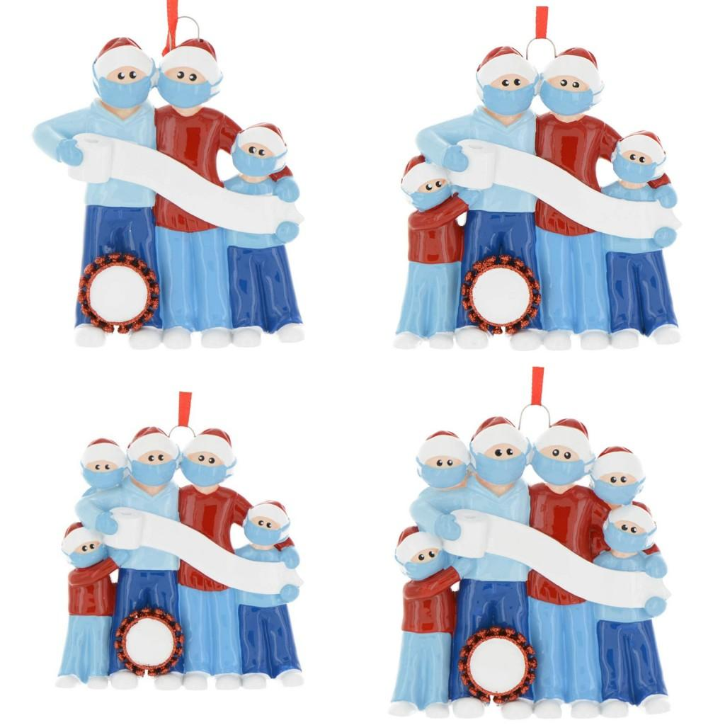 2020 Cute Quarantine Christmas Decoration Kids Party Gift Personalized Family Of 3 4 5 6 Ornament Pandemic with Face Masks FY4277