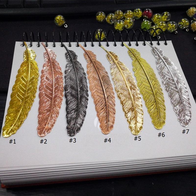 7 couleurs Plume métal Signet document Livre Mark Étiquette Fournitures de bureau école style chinois cadeau WB2604