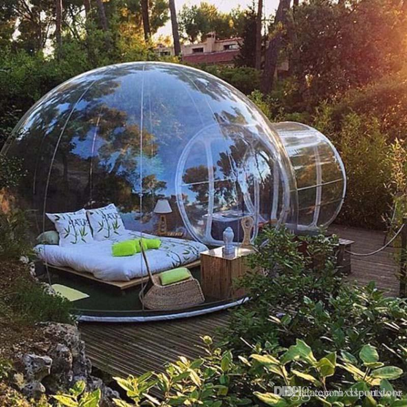 الجديدة 110 / 220V التخييم في الهواء الطلق نفخ فقاعة خيمة كبيرة المقصورة DIY البيت قبة التخييم فقاعة الهواء لودج منزل حديقة قبة شفافة