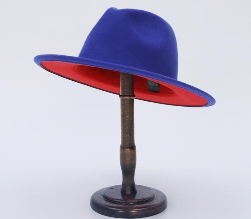 GEMVIE Fedora Hat avec Red Brim Double couleur en feutre de laine Chapeau pour les femmes / hommes Panama Gamble large Brim Jazz Cap 2020