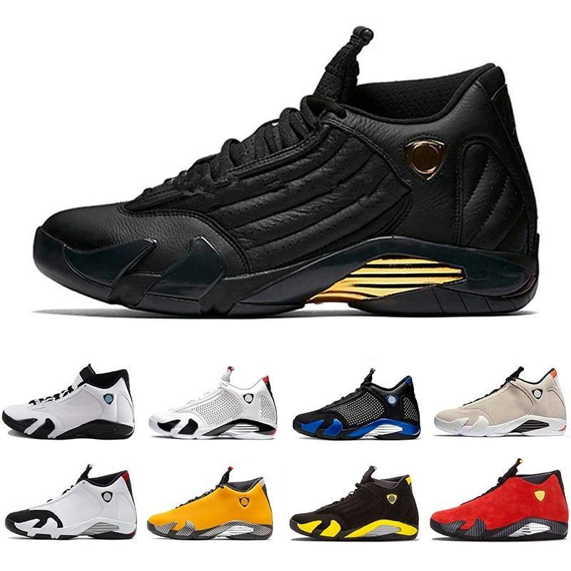 Arrivée Bonbons Nouvelle canne inversée Ferrar Hommes 14s Chaussures de basket-ball jaune 14 de Thunder Last Shot sport Chaussures de sport Varsity royal Formateurs Hommes