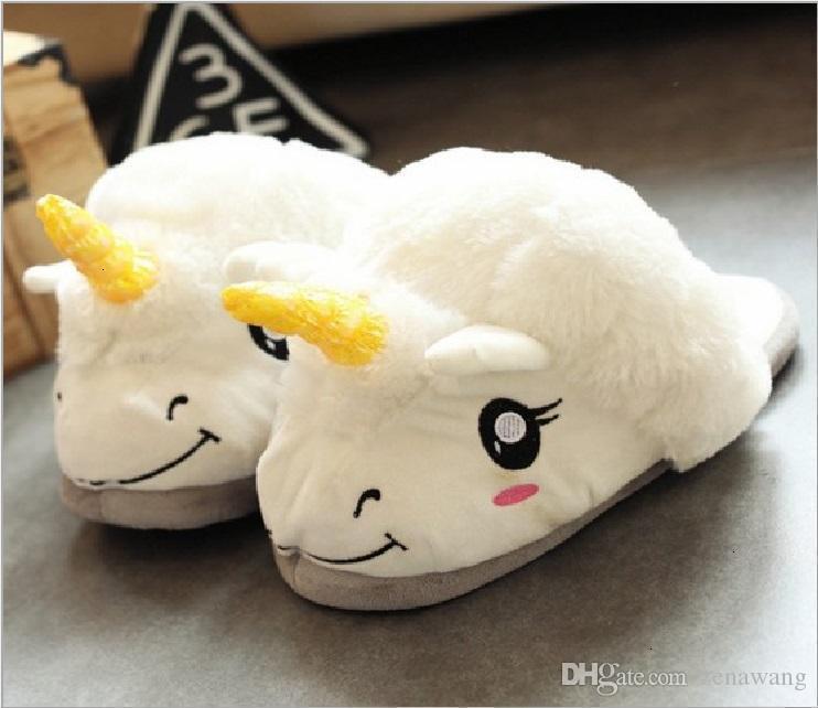 Peluche maison et Essential confortable Belle explosible américaine Cartoon Cotton Unicorn Chaussons