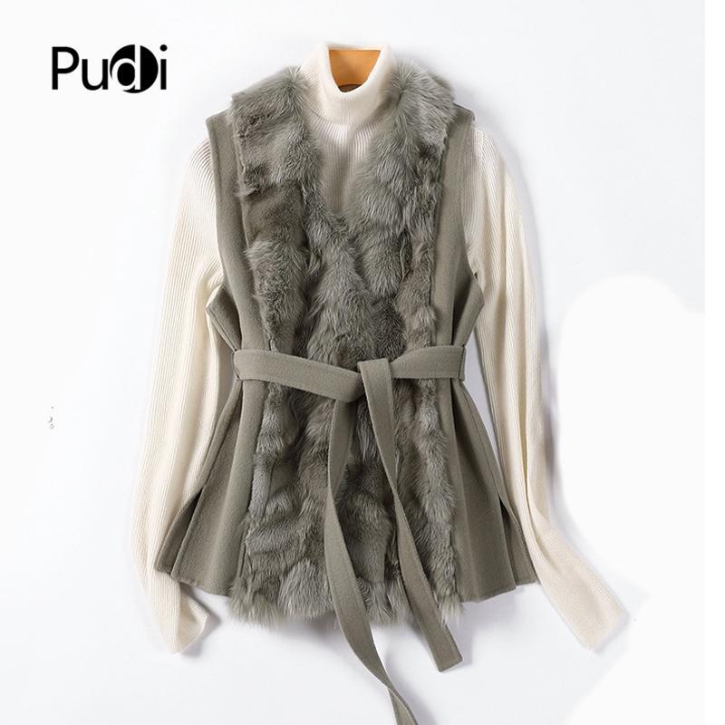 les femmes Pudi hiver réelle veste gilet de renard de fourrure 2020 Ins dame chaude sur la taille des mélanges de laine manteaux de fourrure parka Z20139