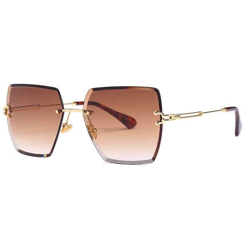 Gafas Gafas de sol Piernas Veshion 2020 Femenino sin rimo para sol Mujer Metal Cuadrado Plaza Degradado Diseñador Anti-Reflexión KMUGP