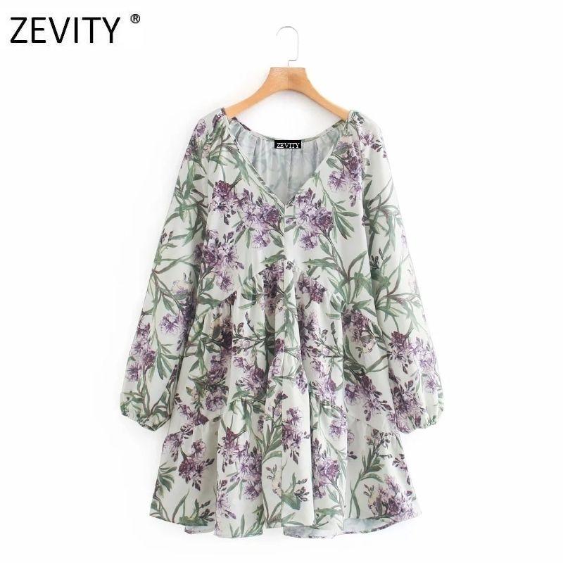 Zevity женщины элегантного v шея фонарь рукав печать случайное рыхлая линия мини-платья дама vestidos шикарное каникулы платье DS4208 C200919