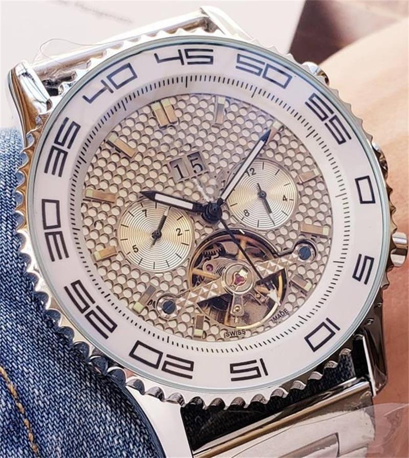 Lüks erkek Gün Tarih Mekanik otomatik kol saati Paslanmaz çelik saatler Büyük boy Beyaz 60 dakikalık kadran erkek tasarımcı Modern saatler saatler