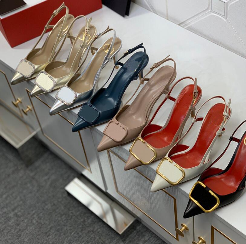 النساء العلامة التجارية عالية الكعب صندل 8CM رقيقة كعب حذاء الزفاف الحمراء حقيقية جلد معدن مشبك V الأحذية واحدة مثيرة تو أشار