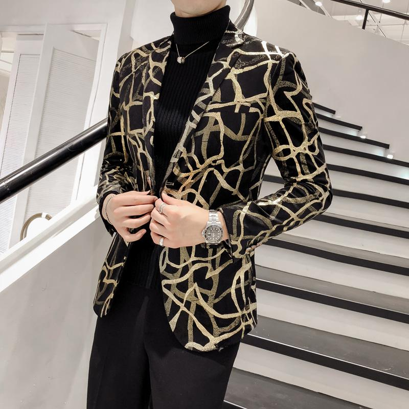 Brand New Men Floral Blazer Fête de mariage coloré Plaid Black Gold Paillettes Blazer design DJ Chanteur Veste de costume de mode Outfit