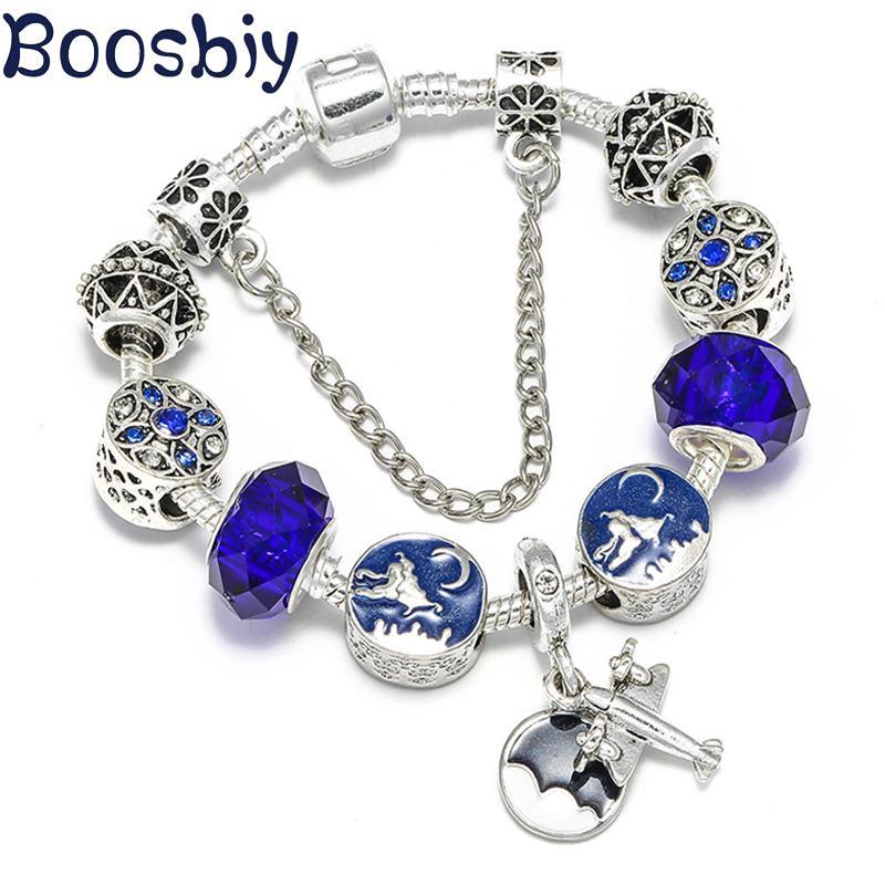 Boosbiy DIY Propellerflugzeuge Charm-Armband für Frauen Kristallglas-Korn Passend Marken-Armband für Mädchen Nizza Schmuck-Geschenk