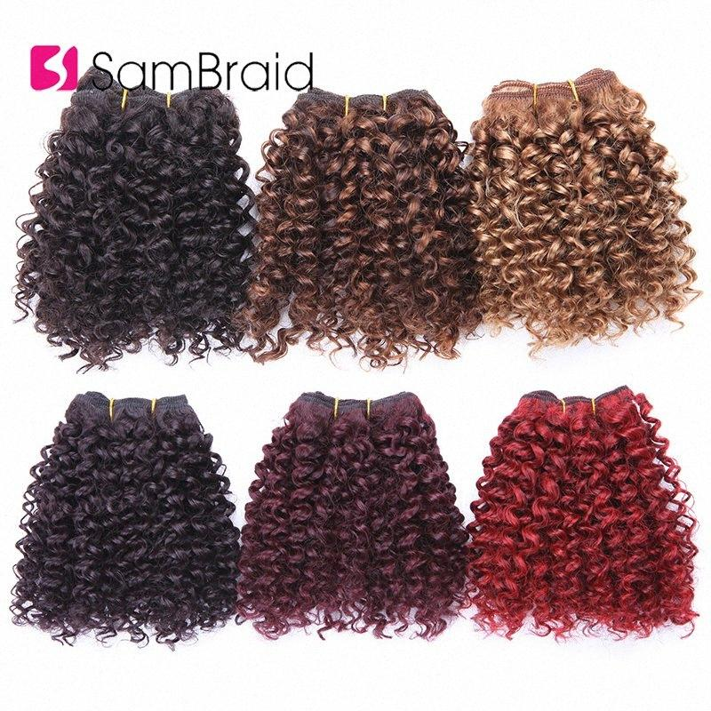 SAMBRAID Short Afro Kinky Curly Hair Extensions 3 Bundles 8 Inches Blended Hair Weaves Ombre Wefts Synthetic For Women F05p#