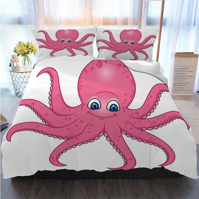 Imposta Set Super 3pcs Biancheria da letto di cotone re copripiumino polpo fumetto Quilt Bedding Comforter Bedding