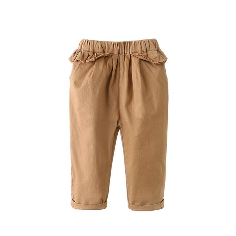 Outono Roupa para meninas Calças Calças novas crianças de cor sólida cintura elástica Calça Casual Calças Moda solto Ruffle crianças