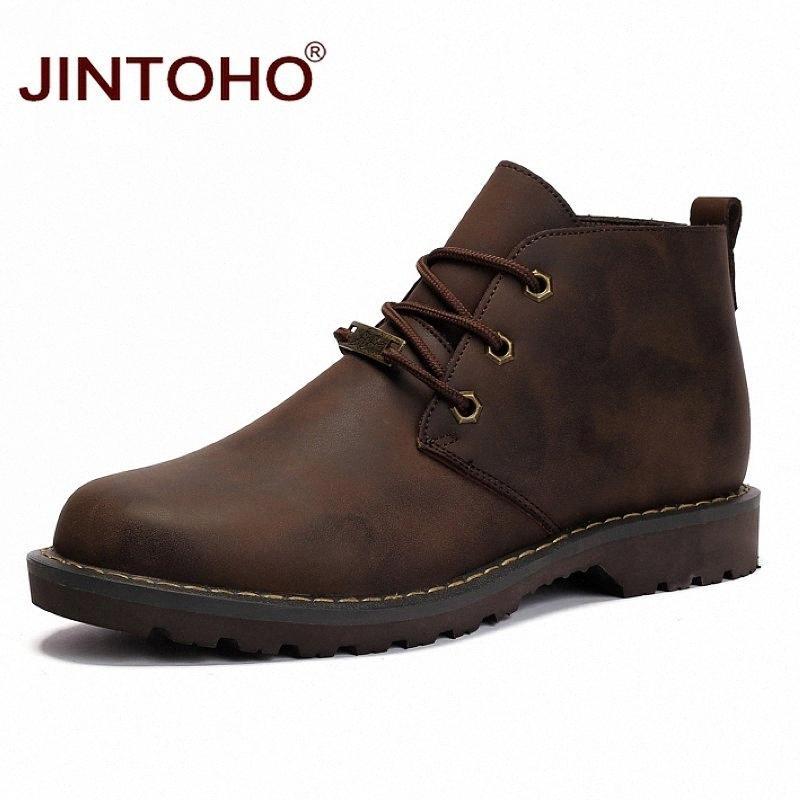 JINTOHO Winter-Mann-echtes Leder-Schuhe Mode für Männer Lederstiefel Arbeitssicherheitsschuhe Winterstiefel Männliche Arbeitssicherheit hubb #