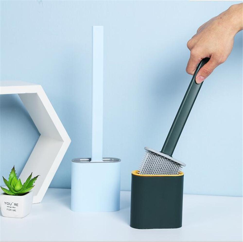 Hot Garden Silikon-WC-Bürste Wand befestigten Flachkopf Flexible weiche Borsten Pinsel mit schnelltrocknende Halter-Set für Badezimmer Zubehör