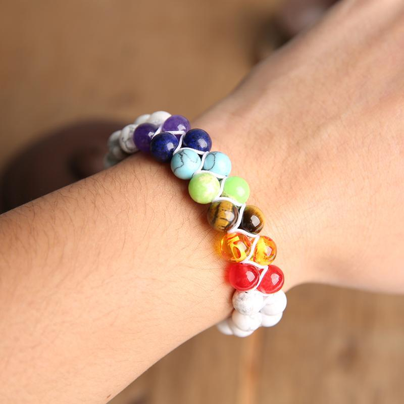 BALIBALI 7 Chakra Pedra Natural Handmade trançado Double Layer Pulseira Homens Mulheres ajustável Bracelet Energia
