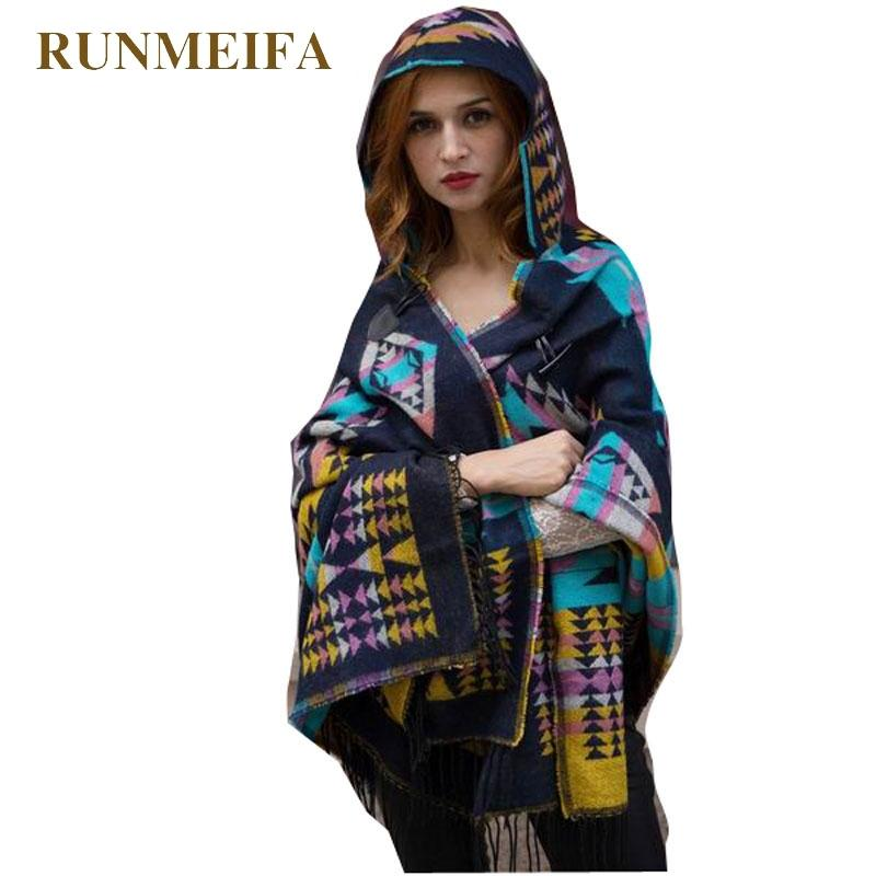 Quente RUNMEIFA Inverno Poncho Para Mulheres Geometric Cape femme ponchos e capas mulher casaco com capuz Manto Tippet Plus Size 200919