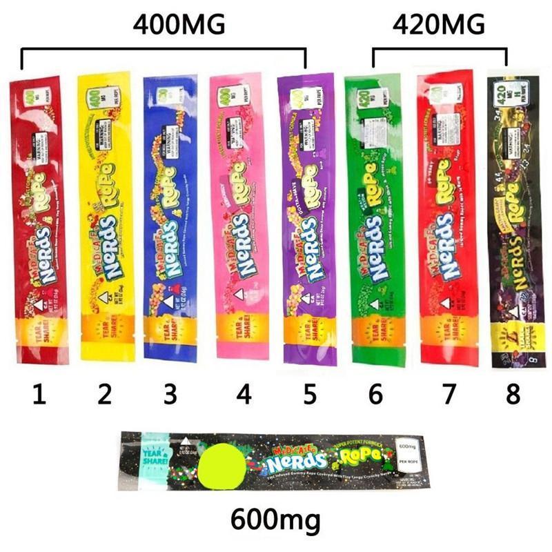 Nerds self mylar 9 bolsa 420mg 400mg seco 600mg cuerda bolsa sello para colores flor tabaco hierba venta al por menor UXNKB