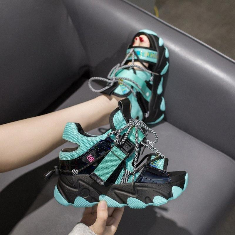 Mujeres Sandalias de plataforma gruesa 10cm Super High Heels Zapatos casuales Estilo británico Diseñadores de mujer Wedge Moda Sandalia Sandalia 2020 5rqq #