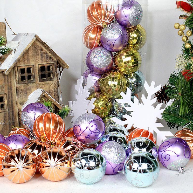 24pcs arbre de Noël Jouets Décorations de Noël Boule Boule de Noël Parti Hanging Boule Ornements Décorations pour la maison Nouvel An Navidad