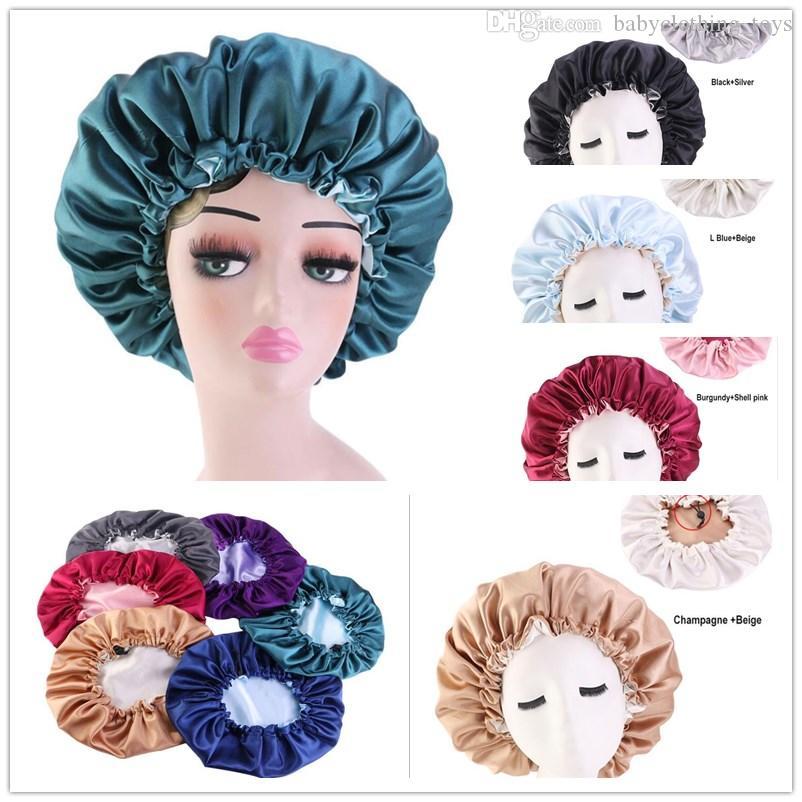 Moda Çift Katmanlı Saten Bonnet Kapaklar Duş Kapı Şapka Lady Kadınlar Ayarlanabilir Kafa Kapak Uyku Şapka Güzel Saçlar için Bere Kuaförlük