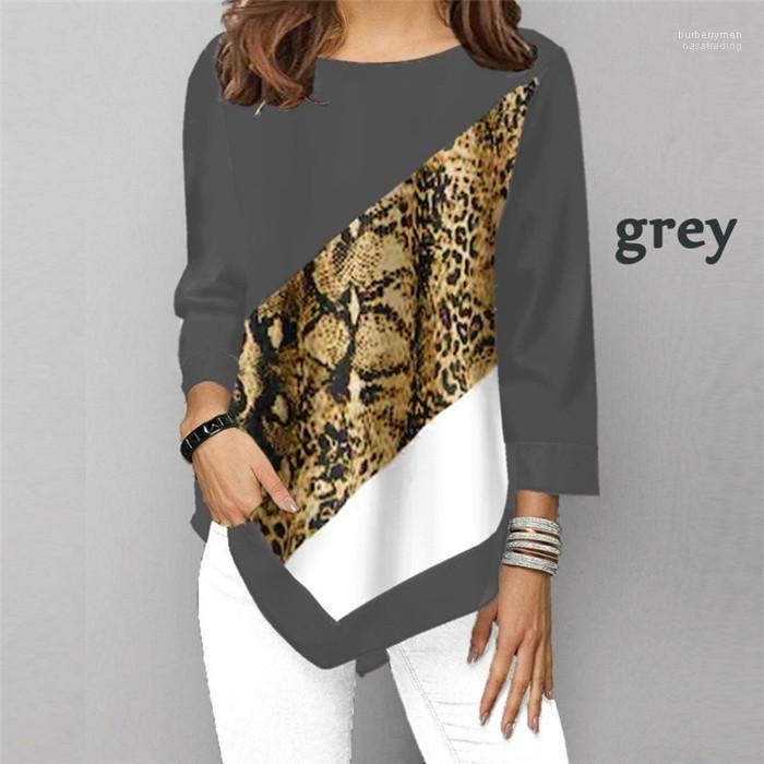 Kollu Mürettebat Boyun Tişört Kadın Tasarımcı Dikiş Tişört Yeni Leopar Desenli Moda Kontrast Renk Düzensiz Uzun