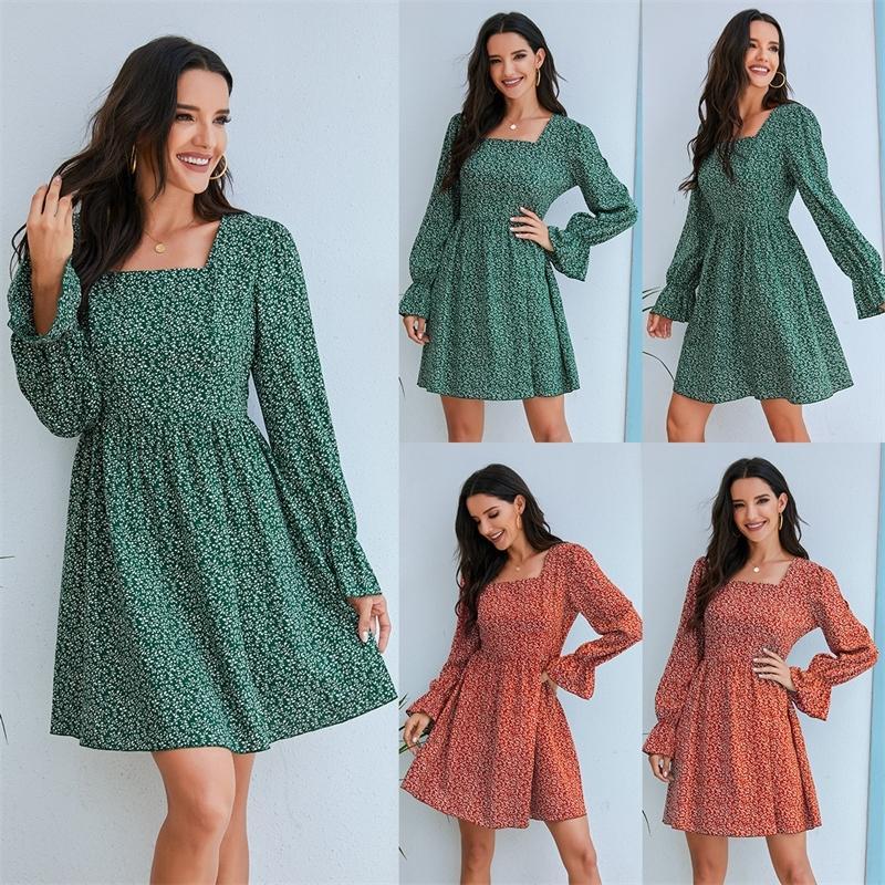 2020 Herbst und Winter der neuen Frauen Kleid der heiße Verkauf lange Hülse Blumenkleid