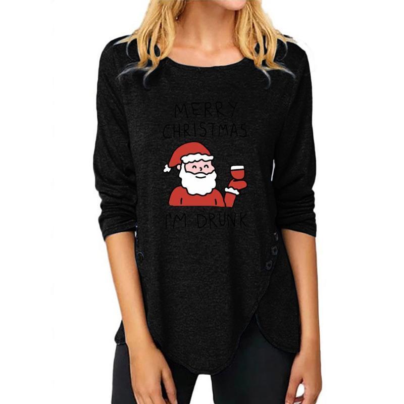 Санта-Клаус Printed черный топ Рождество Женская мода с длинным рукавом круглым вырезом Пуловер Tops Рождество Распечатать фуфайки # 3