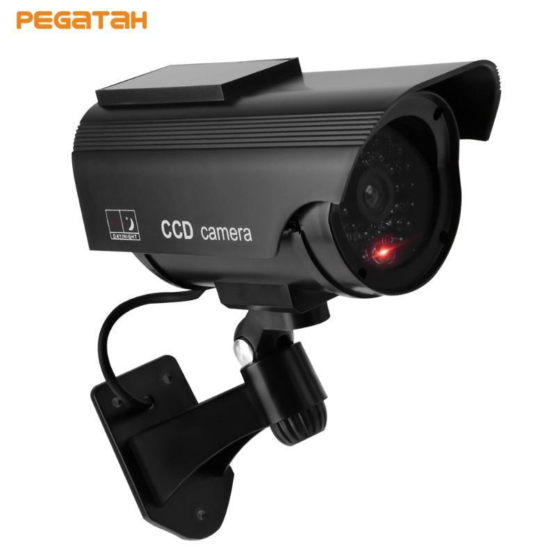 Nueva energía solar simulada / Monitor de seguridad falso Simulación con LED parpadeante luz, OutdoorCCTV Solar Powered cámara