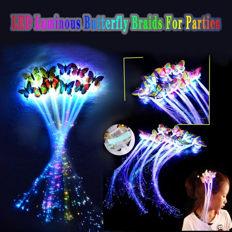 Bunte LED-Leucht-Schmetterling Braid für Weihnachtsfest-Fiber Optic Hairpin-Flash Braid bunte Perücke Kopfschmuck freies Verschiffen