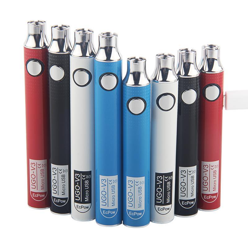 Bateria autêntica do V3 do Ugo V3 de EPOW 650mAh 900mAh Pré-aqueça a bateria de carregamento do Vape de carregamento do Vap do VAP para cartuchos de óleo grossos com carregador USB
