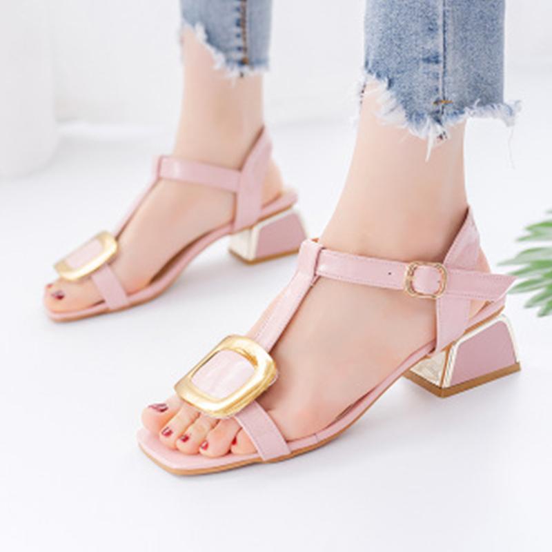 Woman Sandals Female T-Buckle Strap Ladies Heel Women Fashion Square Toe Shoes Women's Comfortbale Footwear Plus Size Summer
