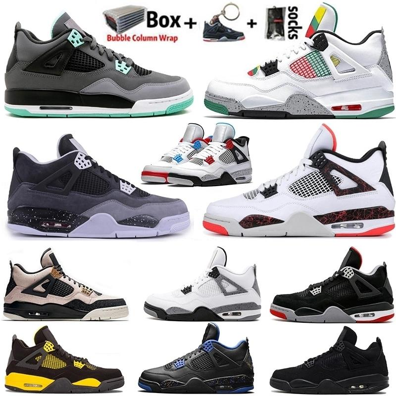 4 cat High 2020 4s Black With Box Wings Jumpman Mens Basketball Shoes Designer Silt Red Neon Thunder Trainers Women Sports Sneakers Size 13