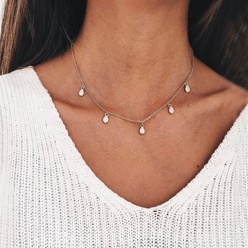 Sevimli Gümüş Renk Kristal Rhineston Yaka Bildirimi Zincir Neckalce Kadınlar için Gerdanlık Kolye Takı Aksesuarları Hediye Toptan