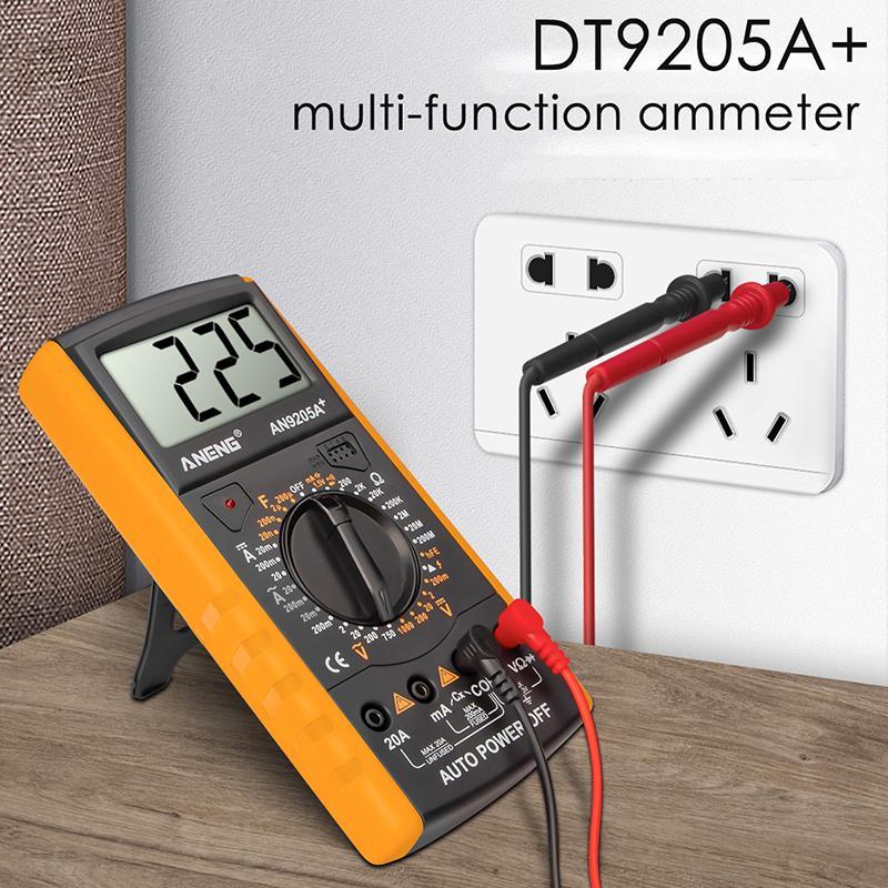 DT9205A + 디지털 멀티 미터 AC / DC Profesional 트랜지스터 테스터 전기 ESR NCV 테스트 미터 아날로그 자동 범위 멀티테로
