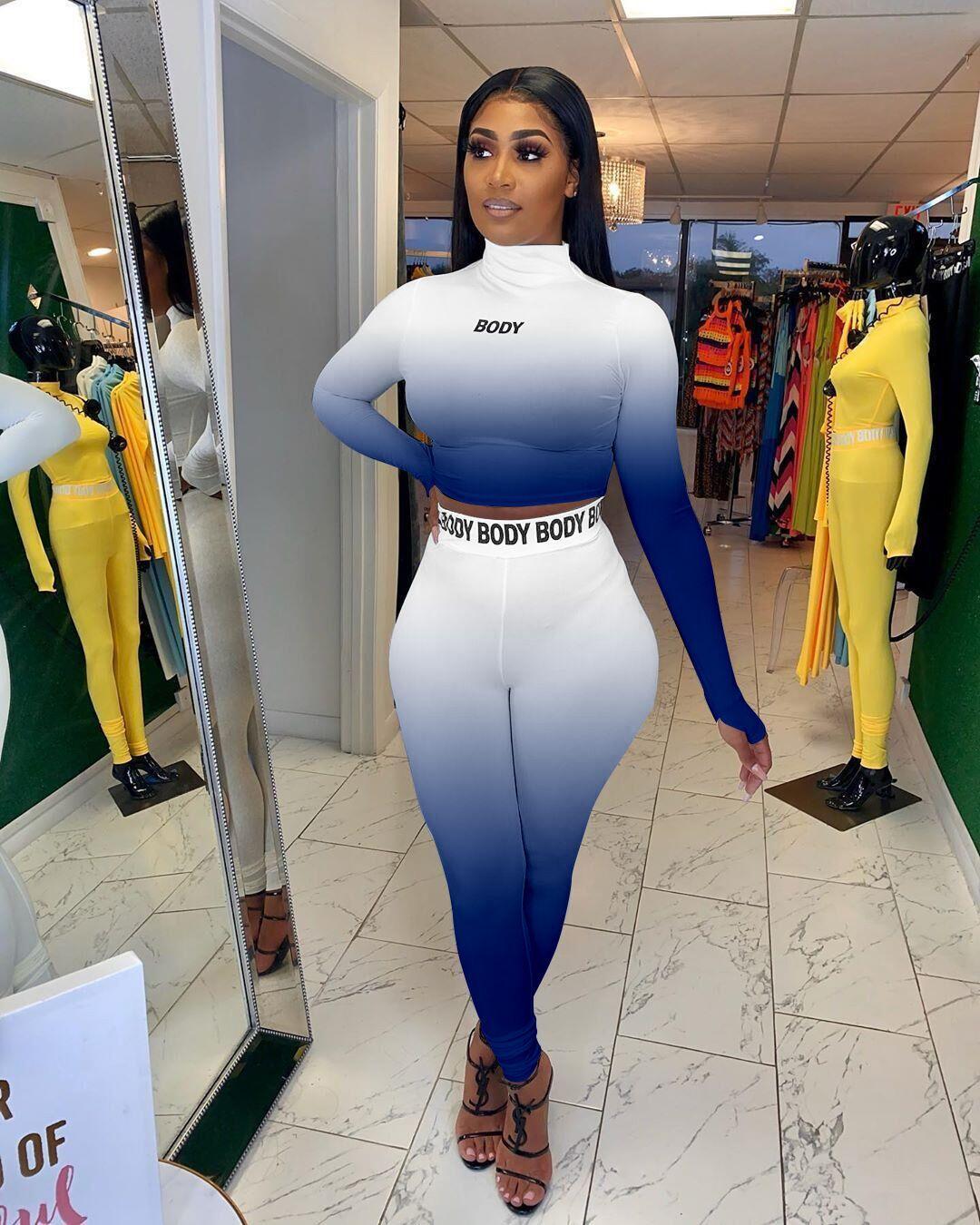 섹시한 여성 스포츠 정장 두 조각 세트 편지 인쇄 탑스 높은 허리 긴 바지 복장 패션 트랙 슈트 S-XXL