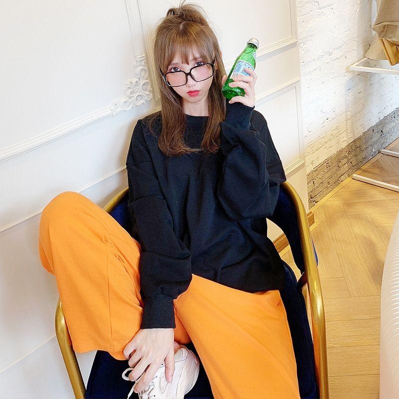 2020 Top Sweater Outono nova cor sólida redonda camisola pescoço de algodão das mulheres negras women'sshoulder perder estilo coreano topo qPUH1