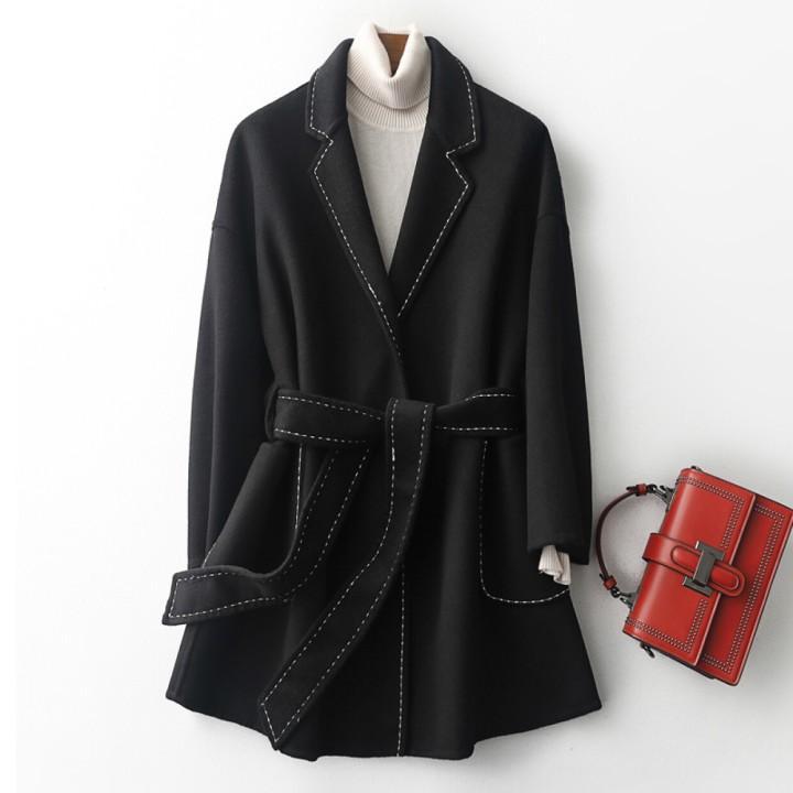 2020 otoño y el invierno de lana de moda señoras de la capa delgada de cachemira recta capa de lana de diseño dobladillo capa de foso