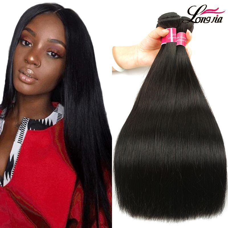Paquete de cabello recto brasileño de visón Brasileño Virgen humano Pelo recta 1b 2 4 Color Extensiones de cabello humano recto sin procesar